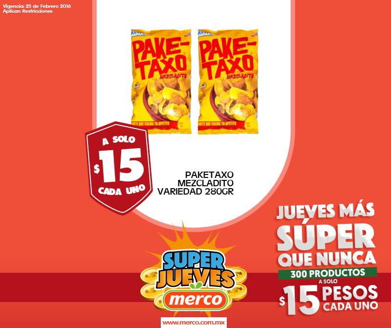 Merco: Pake-taxo mezcladito de 280gr a $15