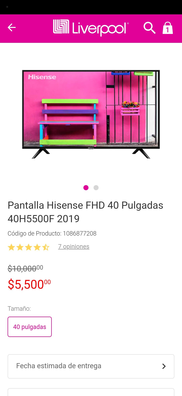 Liverpool: Pantalla Hisense FHD 40 Pulgadas 40H5500F 2019