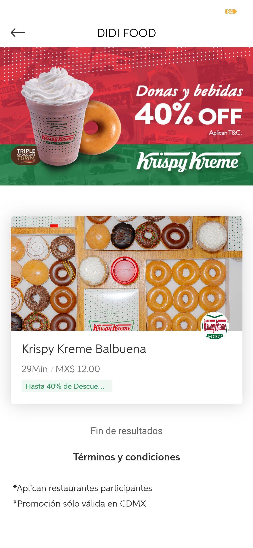 Didi food : Krispy Kreme con hasta 40% de descuento
