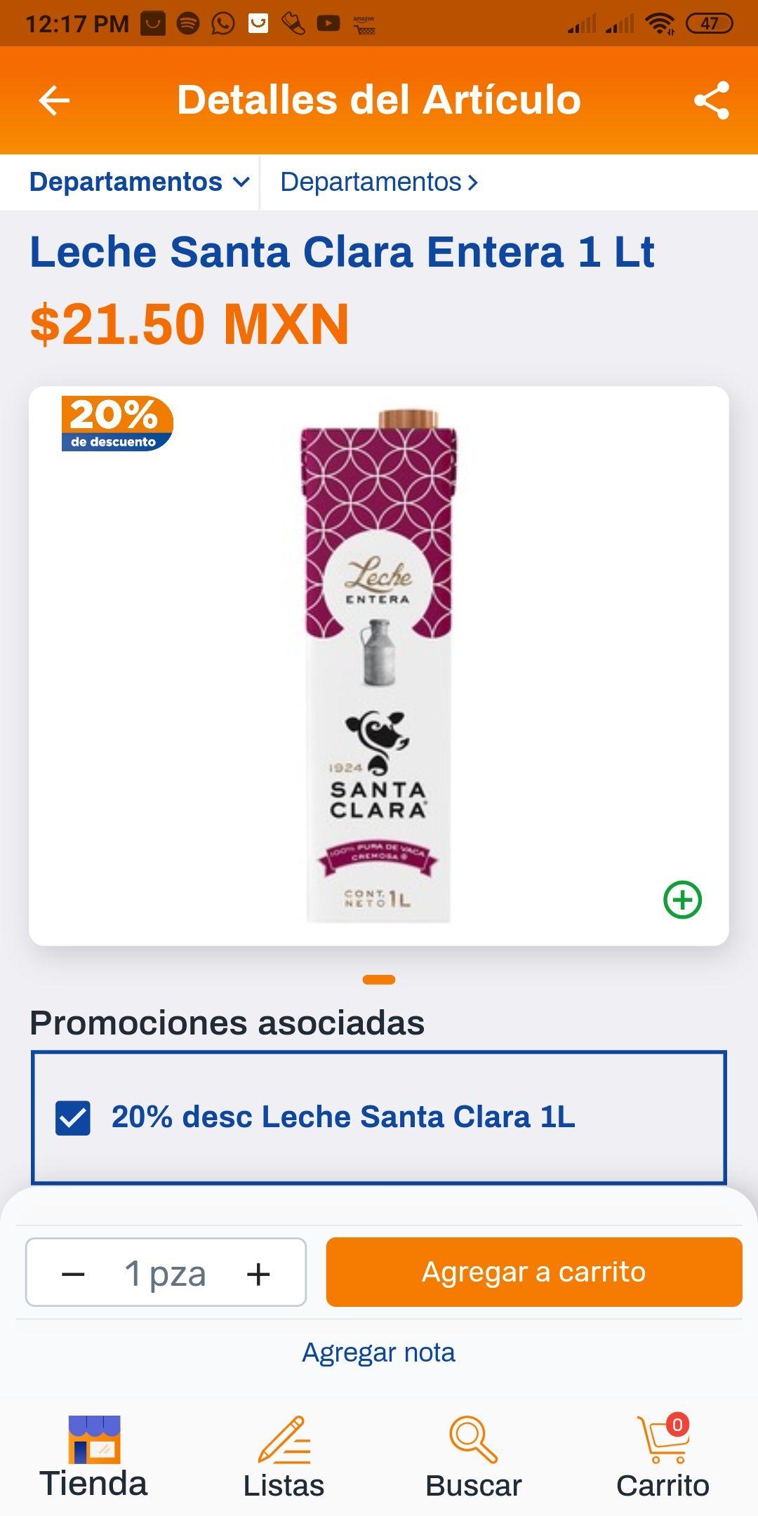 Chedraui Leche Santa Clara Entera 1 Lt