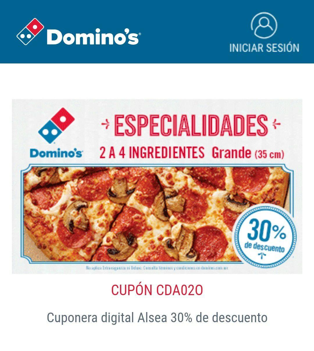 Domino's pizza grande de especialidades con 30% desc. (Teléfono, página y mostrador)