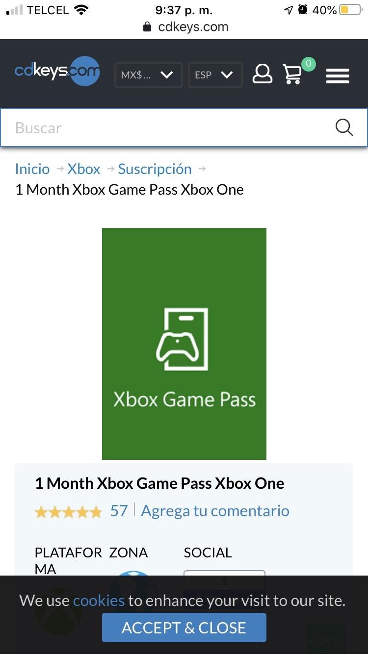 Cdkeys: 1 mes de game pass Xbox, solo aplica para nuevos usuarios