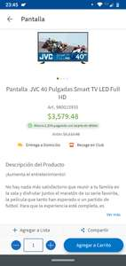Sam's Club: JVC 40 Pulgadas Smart TV LED Full HD.