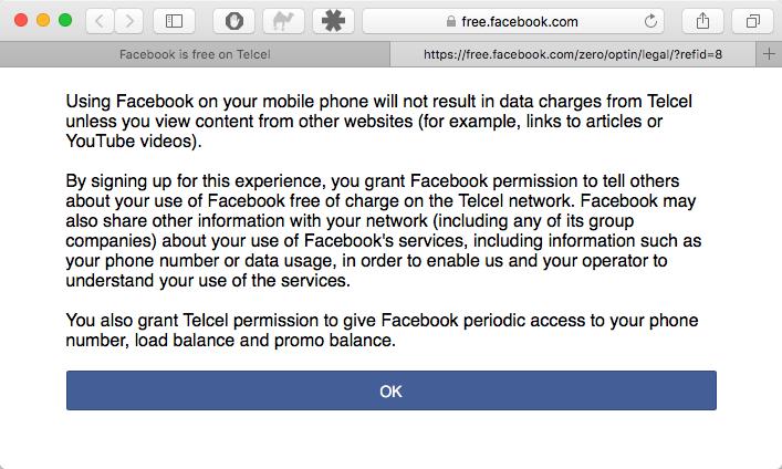 Telcel y AT&T: Facebook gratis (sin uso de datos).