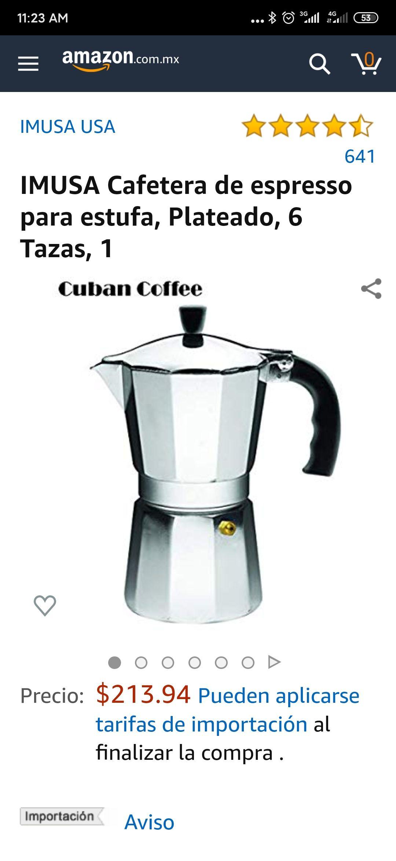 Amazon: IMUSA Cafetera de espresso para estufa, Plateado, 6 Tazas