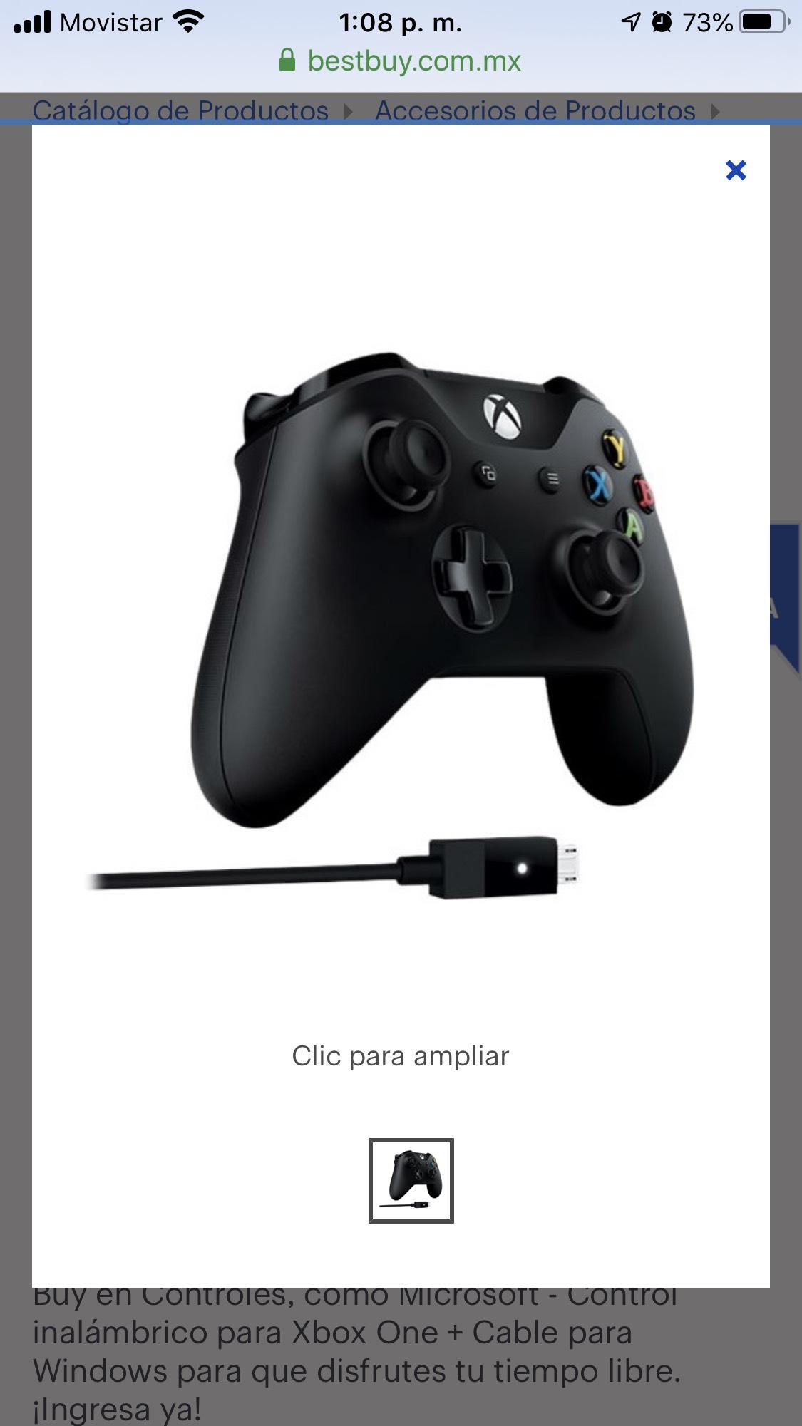 Best Buy: Microsoft - Control inalámbrico para Xbox One + Cable para Windows - Negro