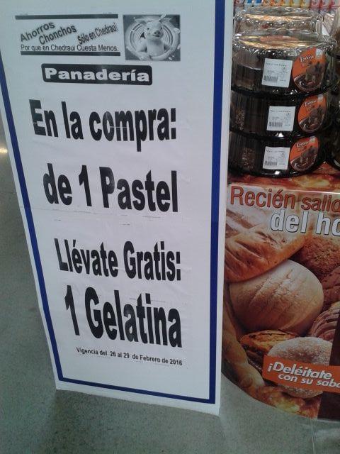 Chedraui: gelatina gratis en la compra de pastel