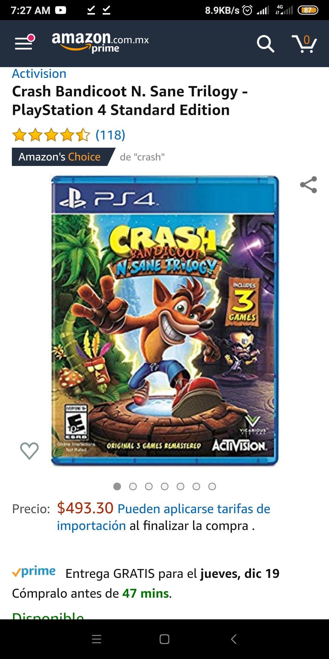 Amazon: Crash Bandicoot N. Sane Trilogy - PlayStation 4 Standard Edition