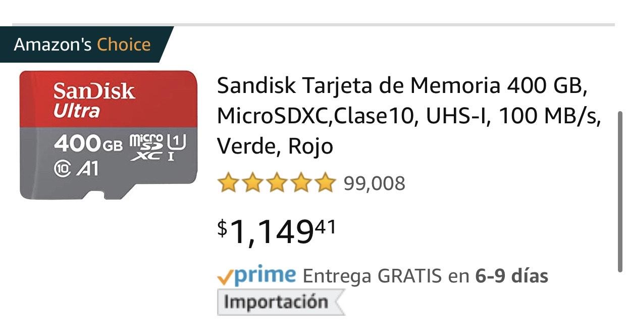 Amazon: Sandisk 400GB ideal para Nintendo Switch.
