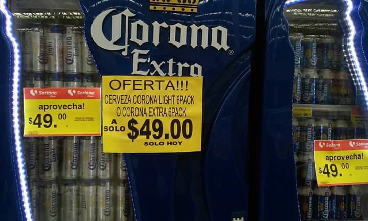 Soriana: six de cerveza corona extra o corona light a $49
