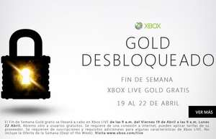 Fin de semana Xbox Live Gold gratis 19-22 abril