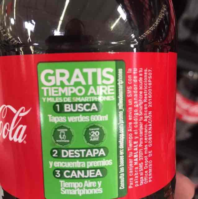 Coca-Cola 600 ml Gratis Tiempo Aire y Smartphones