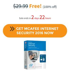 McAfee Internet Security ¡GRATIS!  (Precio original $29.99 USD)