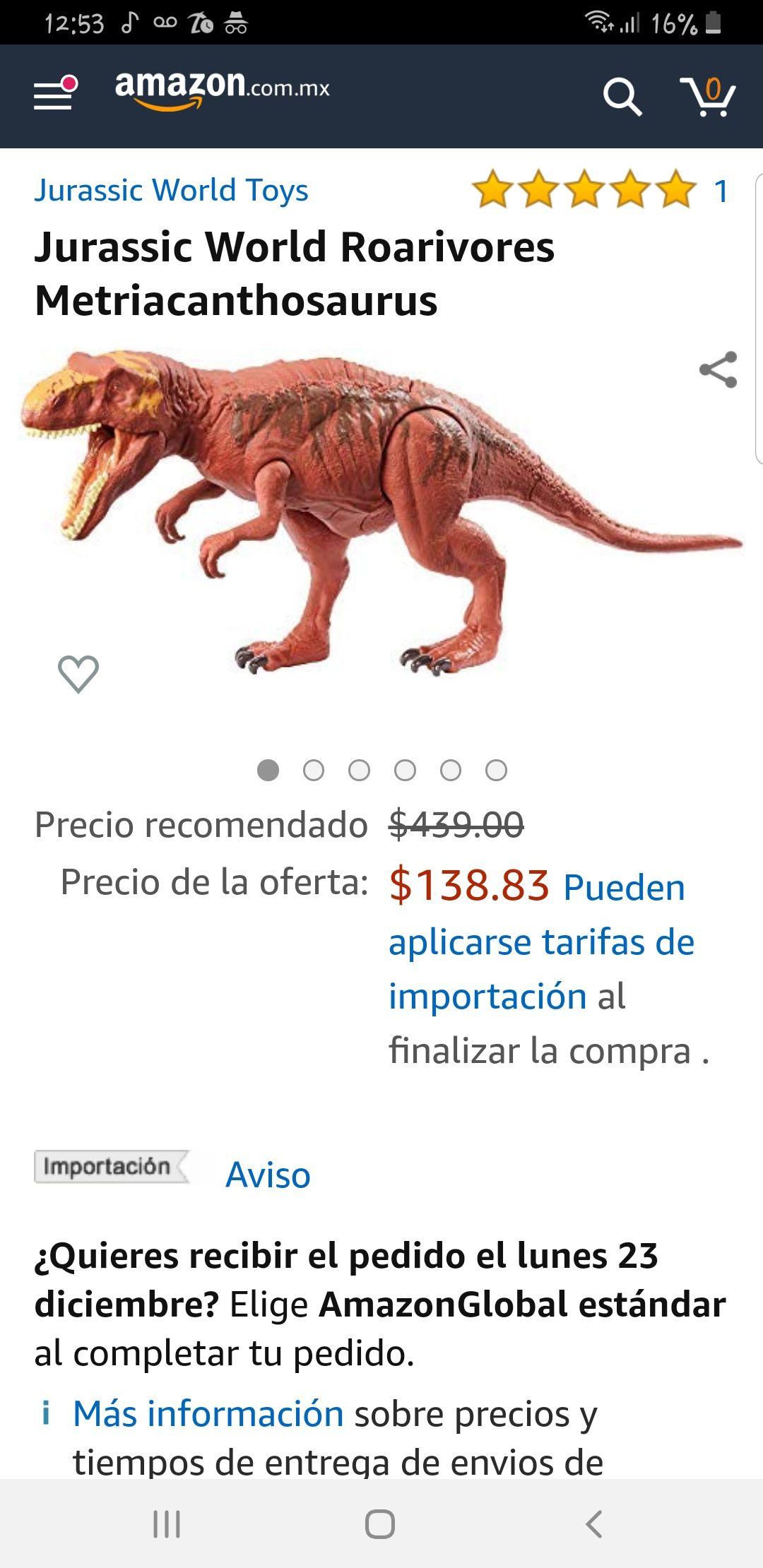 Amazon: Juguete Jurassic world con sonido Metriacanthosaurus