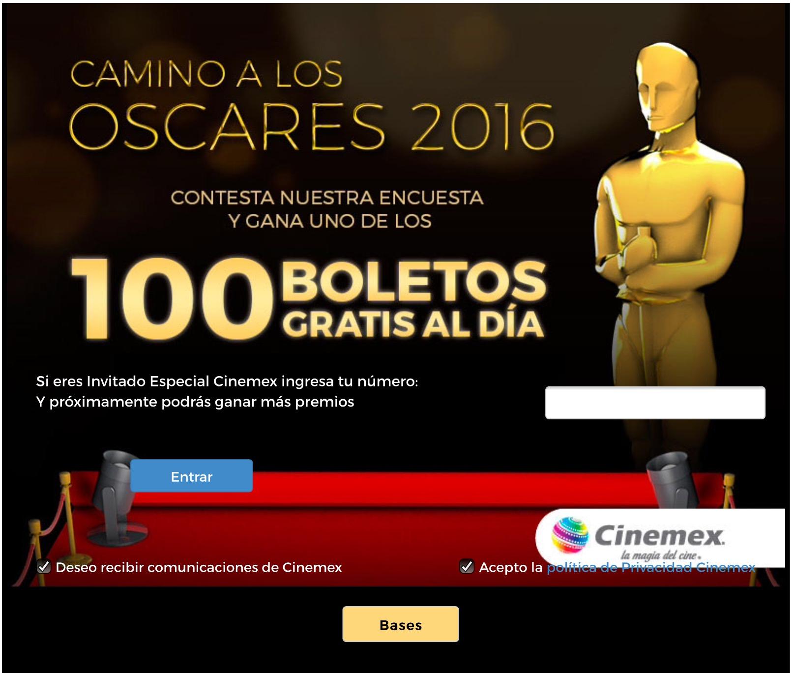 Cinemex: Boleto GRATIS PARA CUALQUIER SALA por contestar una pregunta.