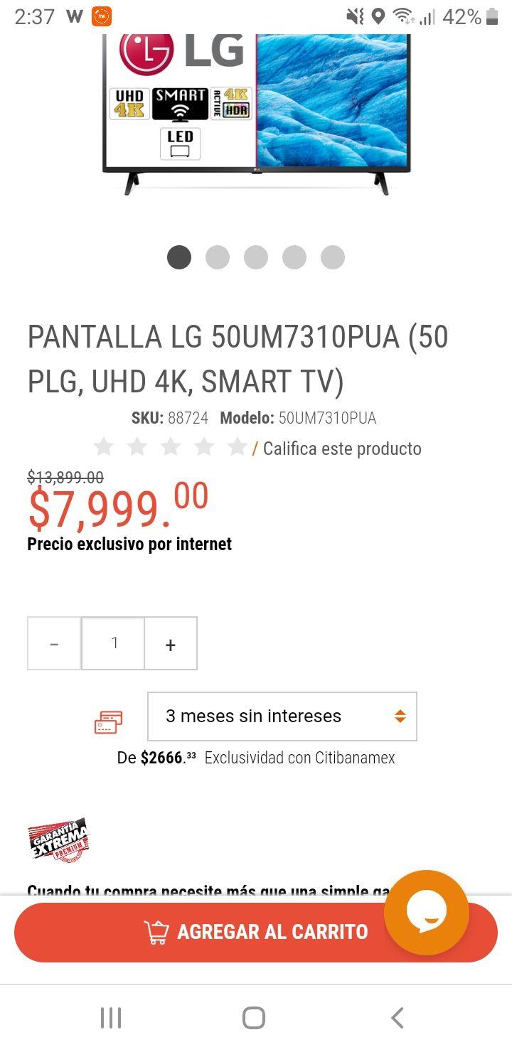 Radioshack: Smart TV LG 50 pulgadas, LED UHD 4K