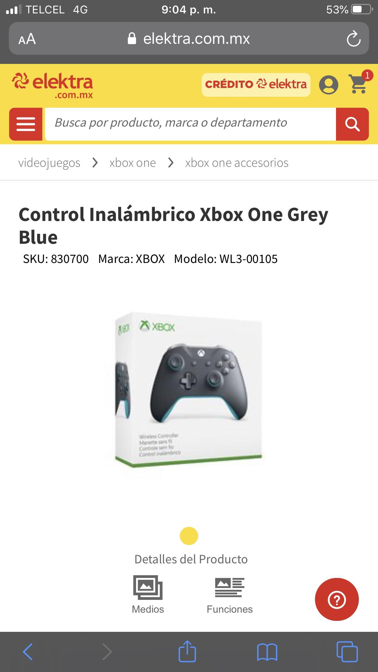 Elektra en línea: Control de x box one gris