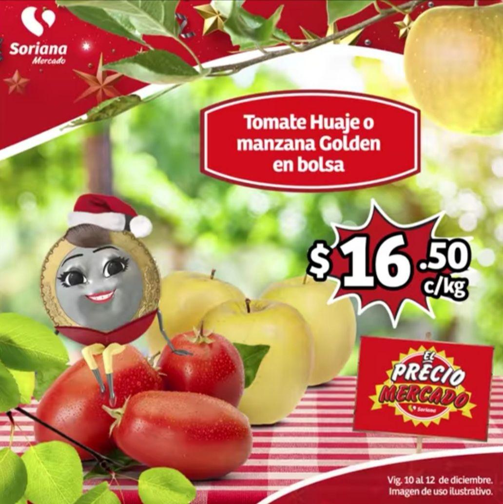 Soriana Mercado y Express: Jitomate Huaje ó Manzana Golden en Bolsa $16.50 kg... Limón Agrio ó Mandarina $9.80 kg.