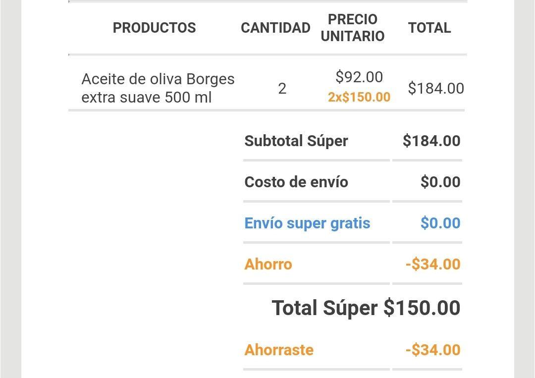 Superama en línea: Variedad Aceites de Olivo Borges de 500ml a 2x150