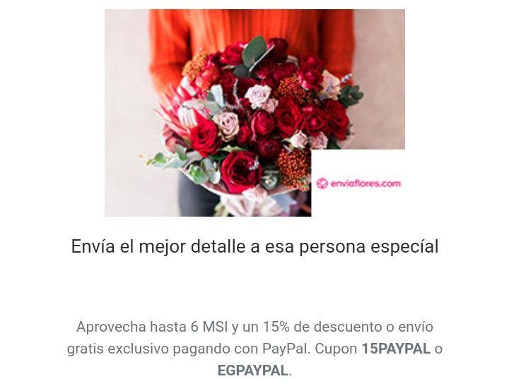 15% de Descuento o Envio Gratis pagando con Paypal en Enviaflores