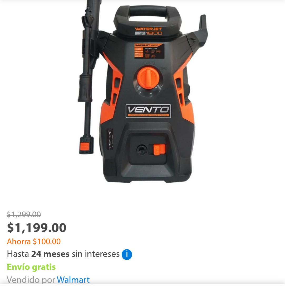 Walmart: Hidrolavadora waterjet 1800 Vento 1800psi buena presión a bajo precio vendido por Walmart
