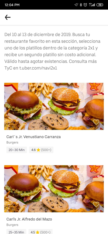 UberEats 2x1 en restaurantes seleccionados