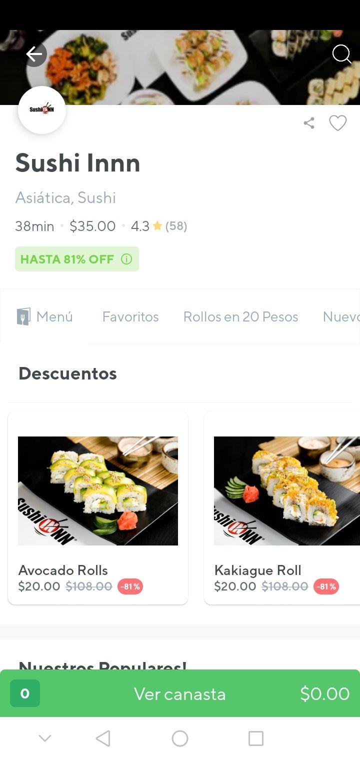 Rappi: Sushi inn (Puebla) rollos a 20 pesos