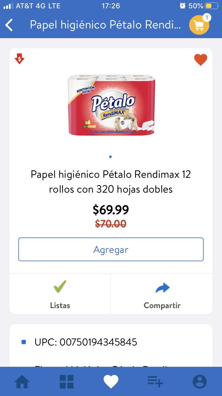 Walmart: Papel higiénico rendimax