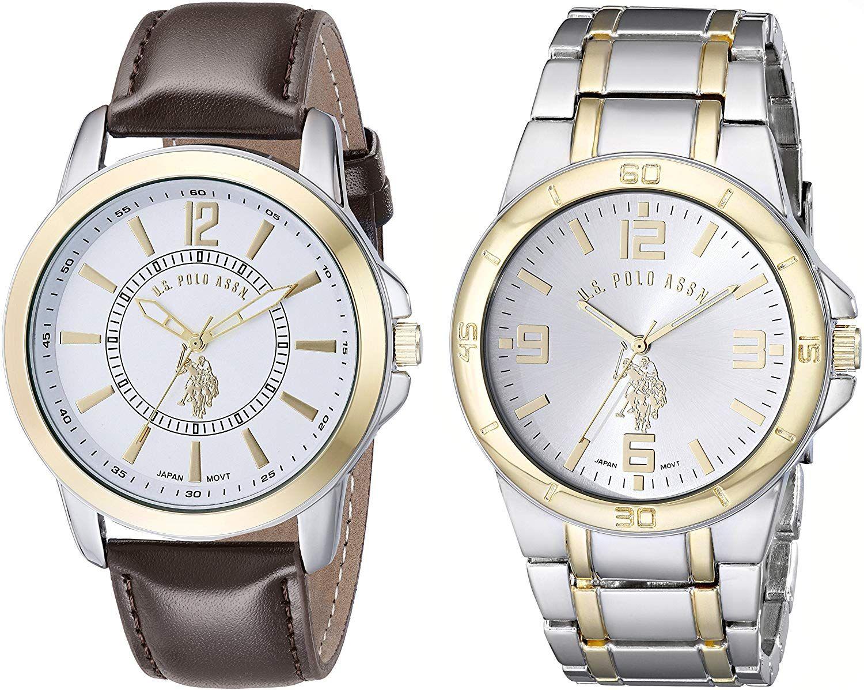 Amazon: Reloj U.S. Polo Assn. set de 2 Relojes para Hombres 44mm, pulsera de Piel