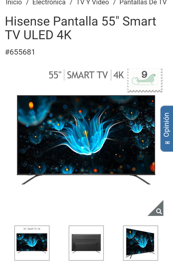 "Costco: Hisense Pantalla 55"" Smart TV ULED 4K"