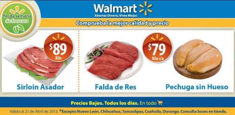Ofertas de carnes en Walmart y Chedraui abril 19-21
