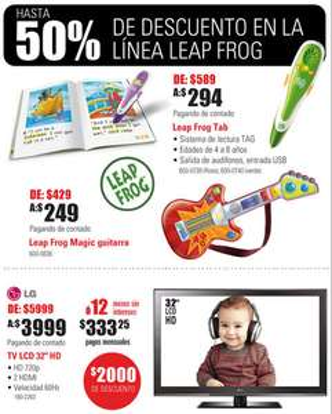 """RadioShack: Pantalla LCD 32"""" LG $3,999, descuentos en Leap Frog y más"""