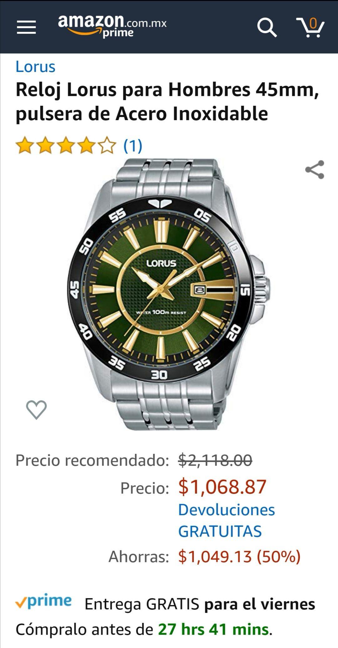 Amazon Reloj Lorus para Hombres 45mm, pulsera de Acero Inoxidable