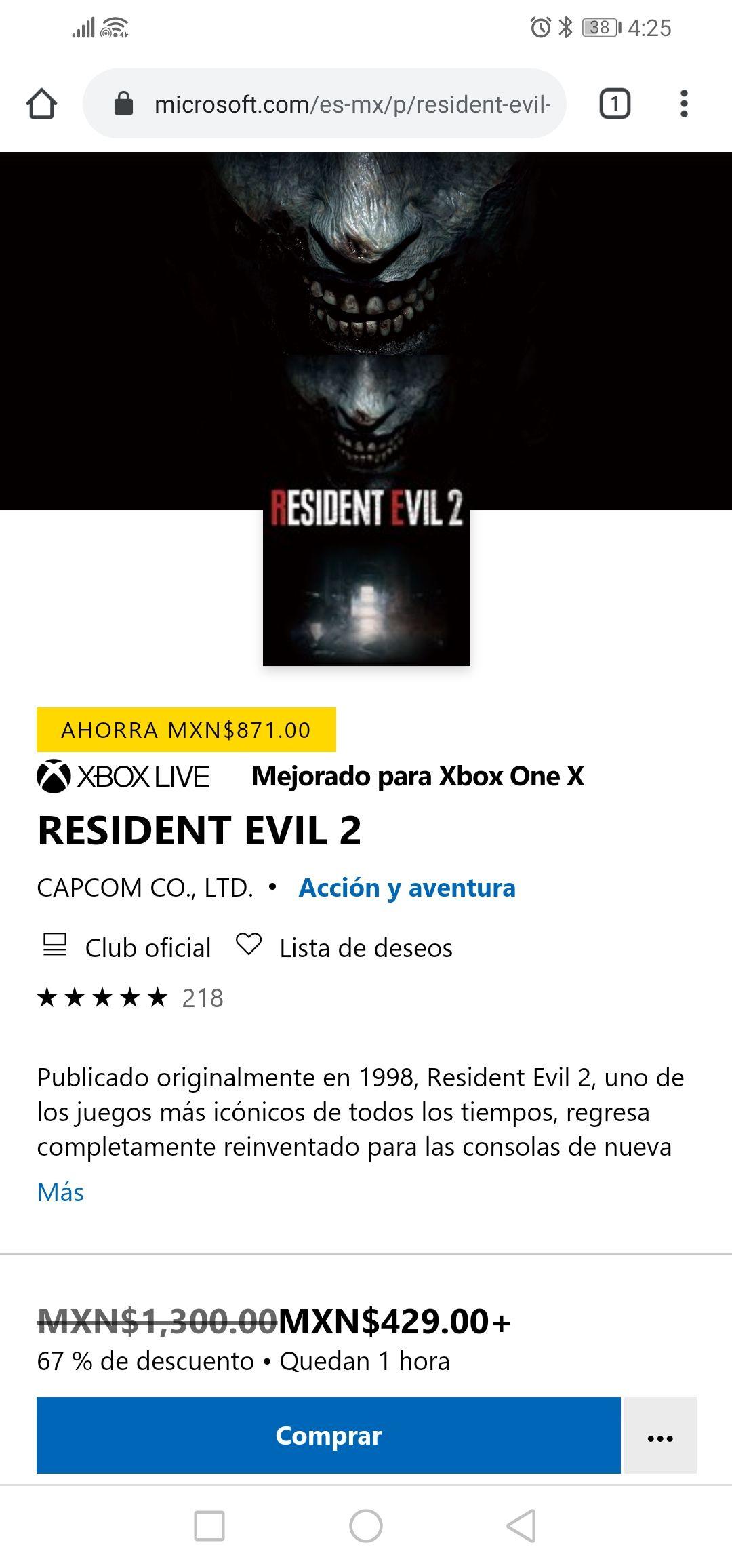 Microsoft Store: Resident Evil 2 standard edition digital