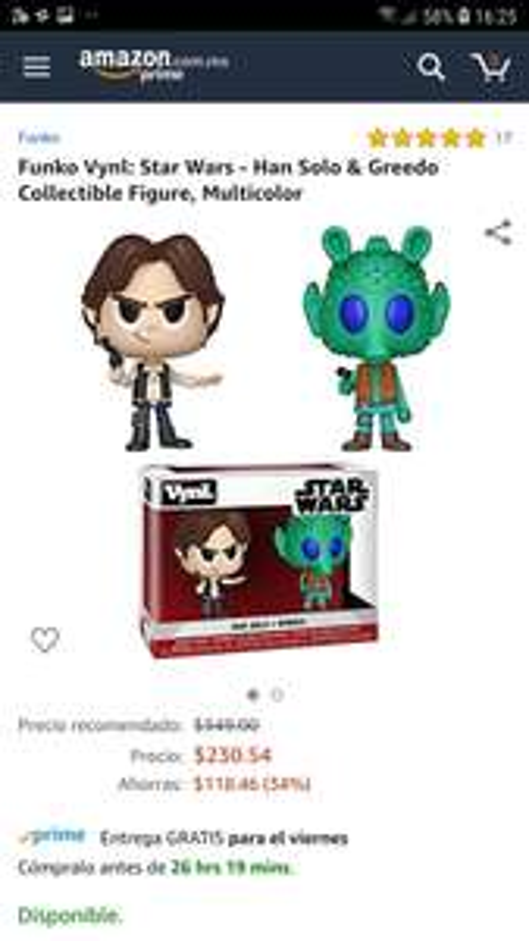 Amazon .mx Funko Vynl: Star Wars - Han Solo & Greedo Collectible Figure, Multicolor