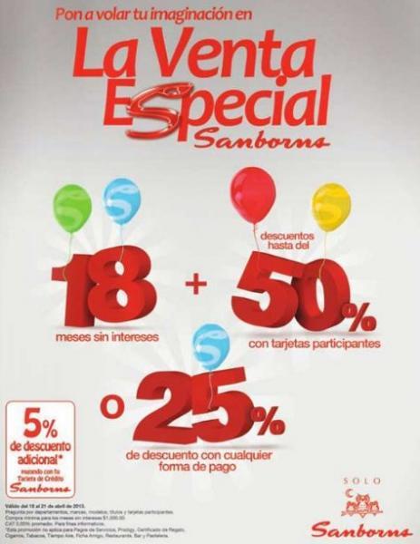 Venta Especial Sanborns en tiendas físicas y online