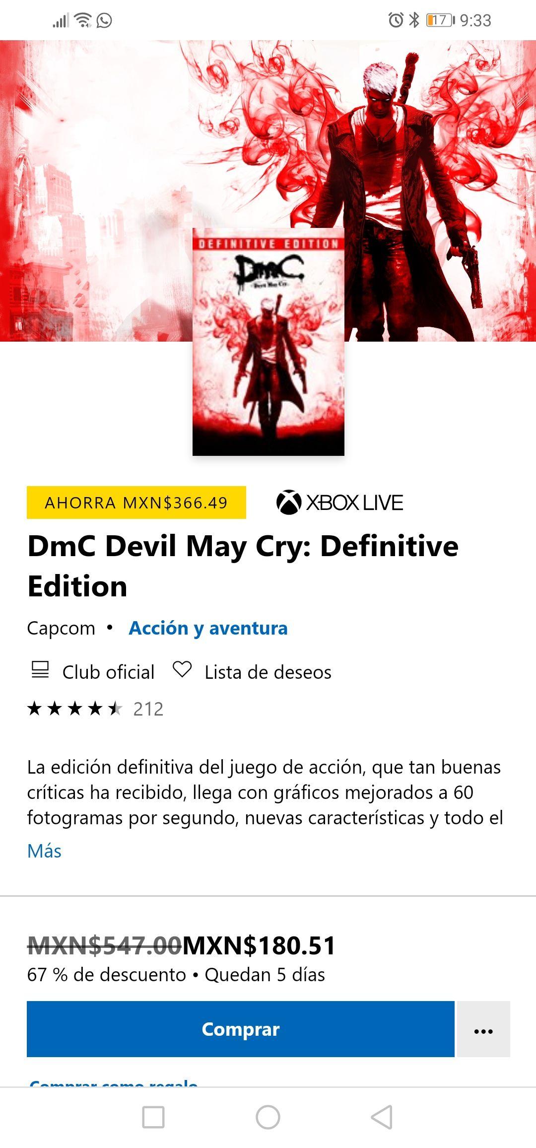 Microsoft Store: Devil May Cry: Definitive Edition (versión virtual)