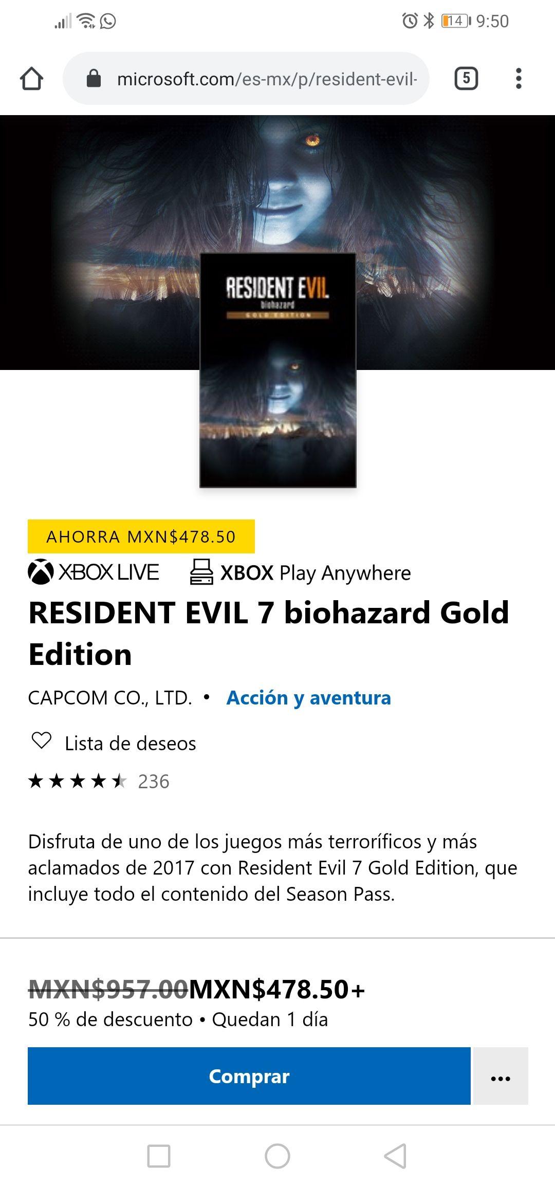 Microsoft store: Resident Evil 7 biohazard Gold Edition (xbox versión digital)