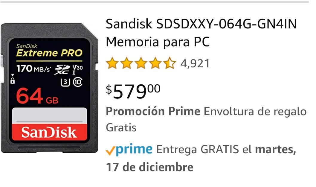 Amazon: Memoria SD SanDisk 64gb U3 10