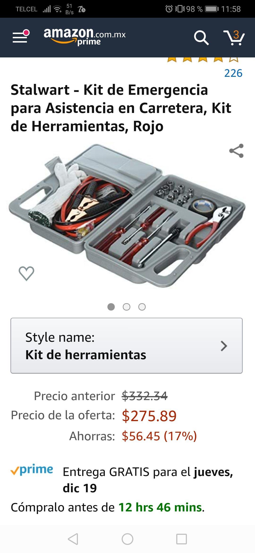 Amazon: Kit de emergencia para el auto