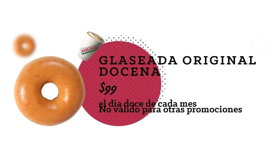 Krispy Kreme: Docena de donas glaseada $99