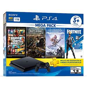 Amazon: Consola PS4 1TB + Horizon Zero Dawn, Days Gone, Grand Theft Auto V (pagando con Citibanamex o Banorte)