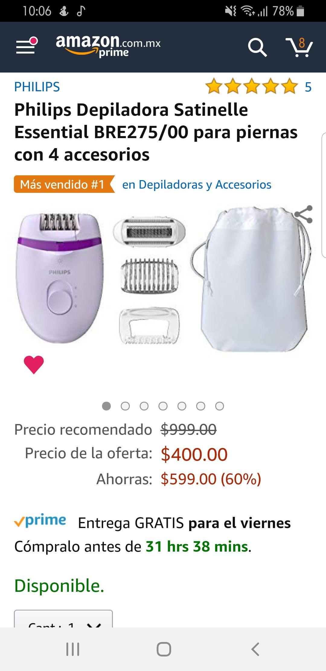 Amazon: Depiladora Philips con 4 accesorios de 999 a 400