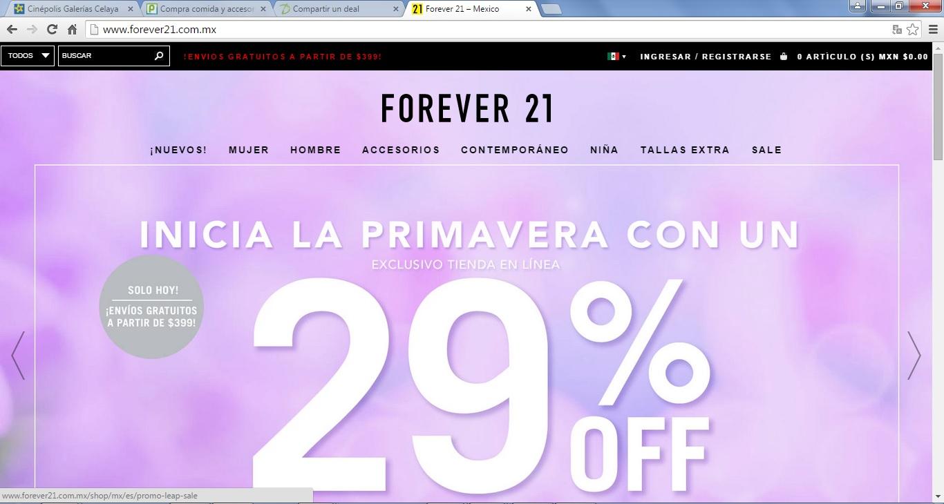 Forever 21 en línea: 29% de descuento y envío gratis desde $399