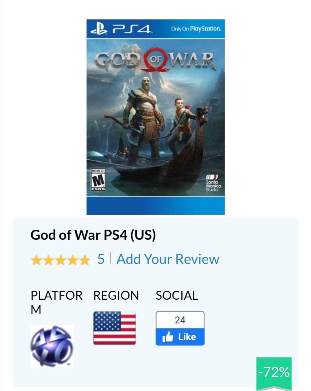 Cdkeys: God of War PS4 código digital