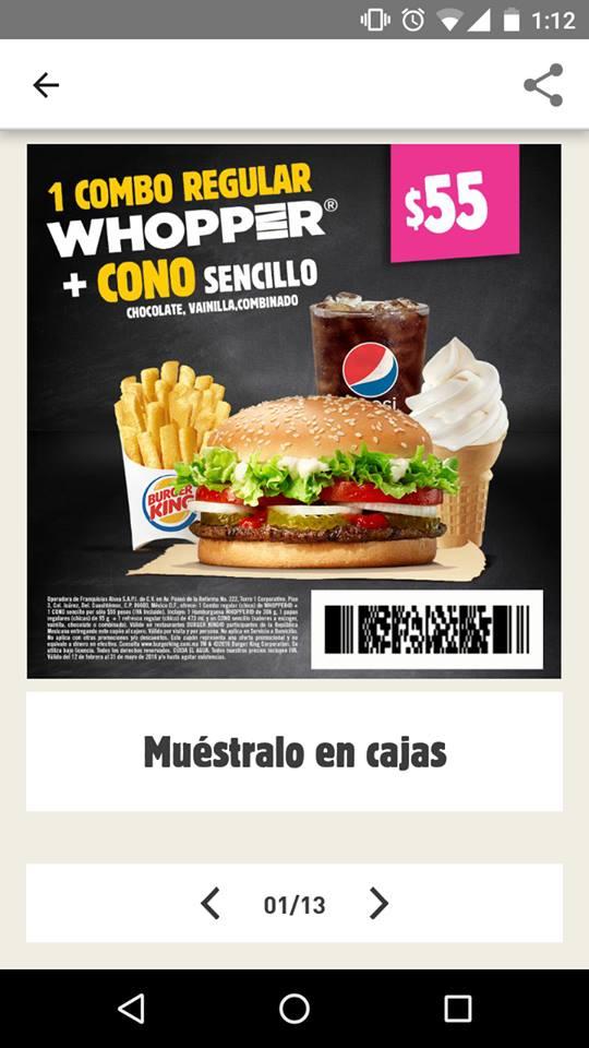 Burger King: Whopper + Refresco + Papas + Cono Sencillo