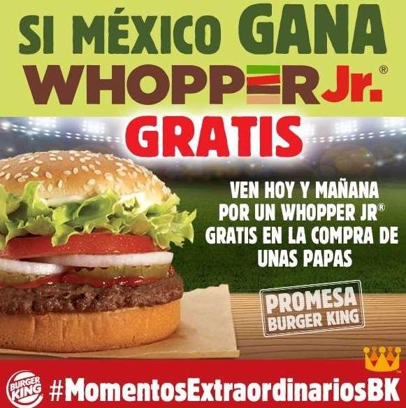 Burger King: Whopper Jr. gratis en la compra de unas papas cuando México gana