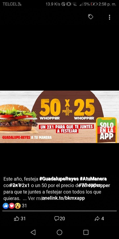 Burger KING App: 2 X 1 en Whooper