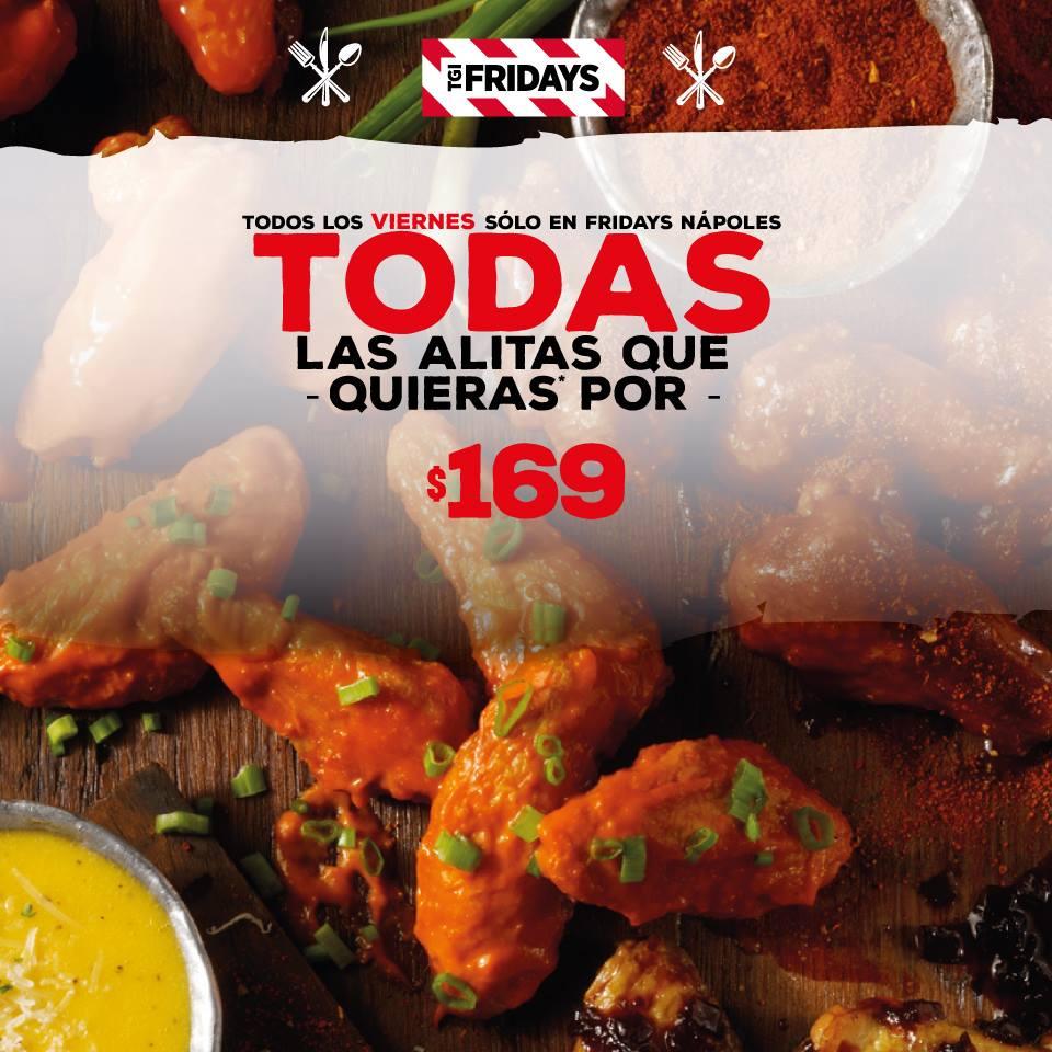 Fridays: Todas las alitas que puedas comer por $169 / Tecate y Tecate light $25