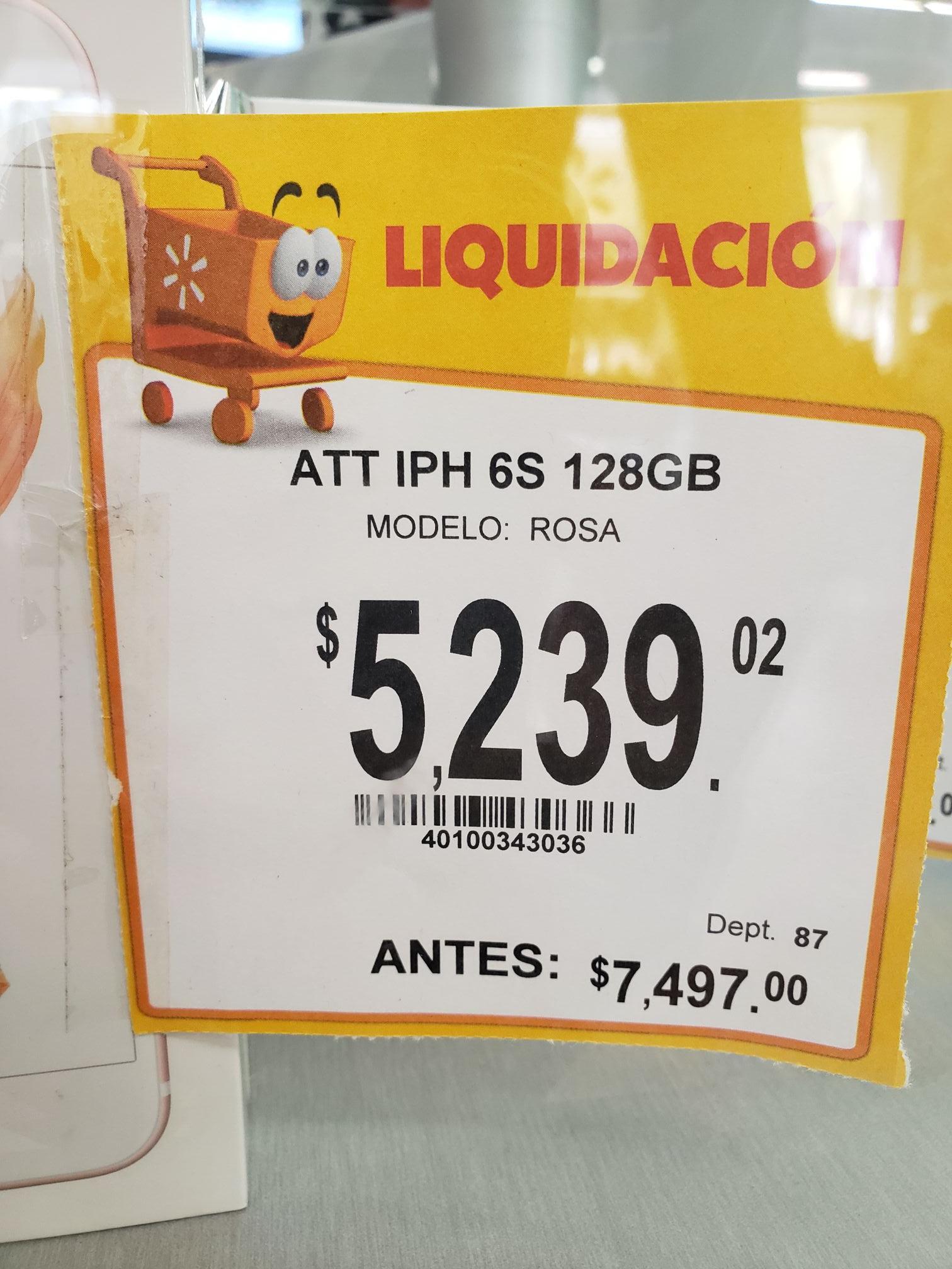 Walmart Patio Santa Fe: Iphone 6s 128 GB Att.